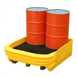 Bacino di stoccaggio e contenimento convertibile modulare Palcon 4 per pallet con 4 fusti da 200 liri